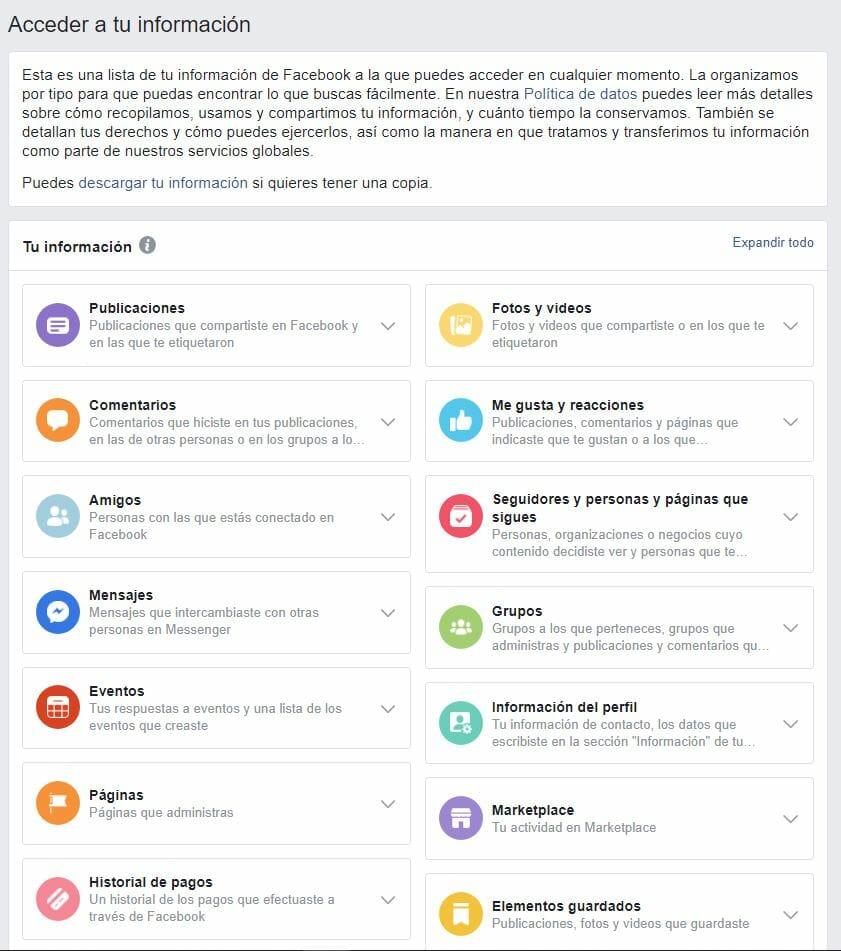 Información segmentada de facebook