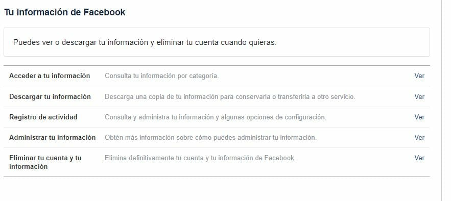 Información de Facebook